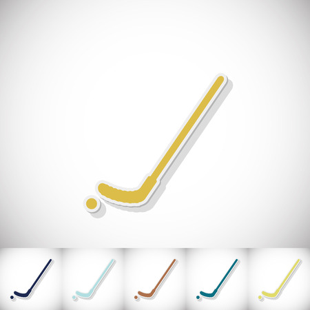 Hockey stick. Flat sticker with shadow on white background. Vector illustration Illustration