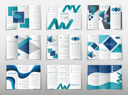 Blue fold set technology annual report brochure flyer design template vector, Leaflet cover presentation abstract geometric background, layout in A4 size