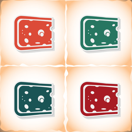Cheese. Flat sticker with shadow on old paper. Vector illustration