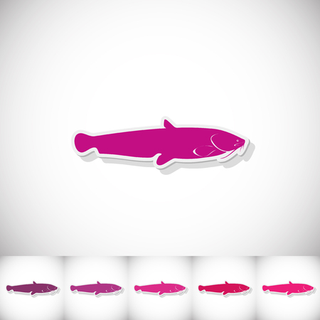 Fish catfish. Flat sticker with shadow on white background. Vector illustration