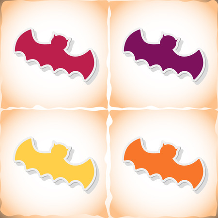Bat. Flat sticker with shadow on old paper. Vector illustration Illustration
