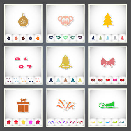 Christmas. A set of flat stickers with shadow on white background. Vector illustration