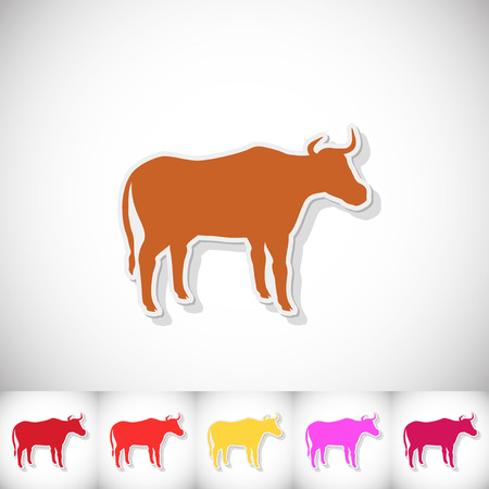 Bull. Flat sticker with shadow on white background. illustration