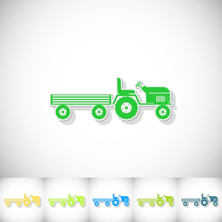 tractor trailer: Tractor and large trailer. Flat sticker with shadow on white background. Vector illustration