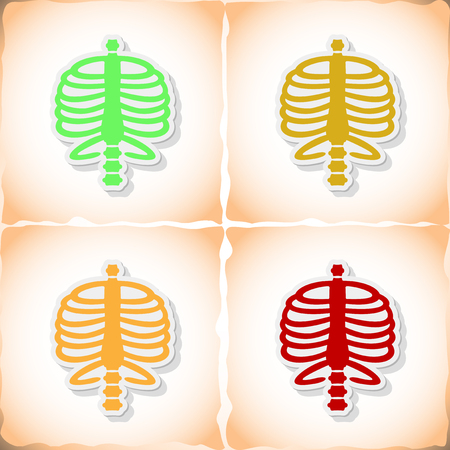 rib: Human rib cage. Flat sticker with shadow on old paper. Vector illustration Illustration