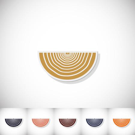 Cipolla. Adesivo piatto con ombra su sfondo bianco. Illustrazione vettoriale