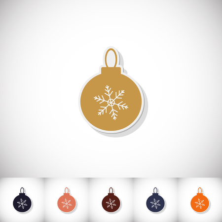 Christmas ball. Flat sticker with shadow on white background. Vector illustration