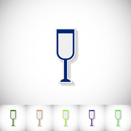sourness: Glass of champagne. Flat sticker with shadow on white background. Vector illustration