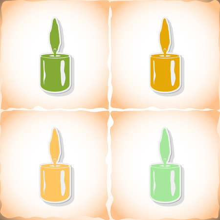 Christmas candle. Flat sticker with shadow on old paper. Vector illustration