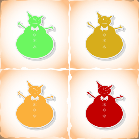 Christmas snowman. Flat sticker with shadow on old paper. Vector illustration