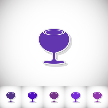 sourness: Wineglass. Flat sticker with shadow on white background. Vector illustration