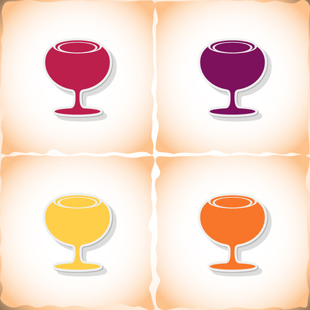 sourness: Wineglass. Flat sticker with shadow on old paper. Vector illustration
