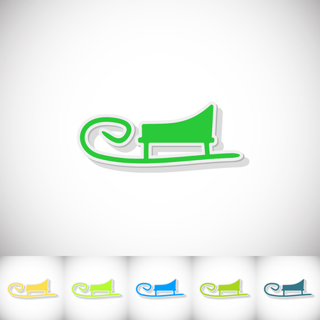 skids: Sledge. Flat sticker with shadow on white background. Vector illustration