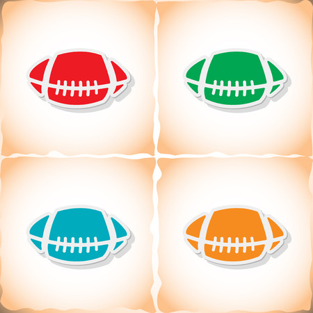 pelota rugby: Rugby ball. Flat sticker with shadow on old paper. Vector illustration Vectores