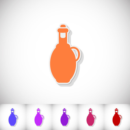 spanish food: Bottle olive oil. Flat sticker with shadow on white background. Vector illustration