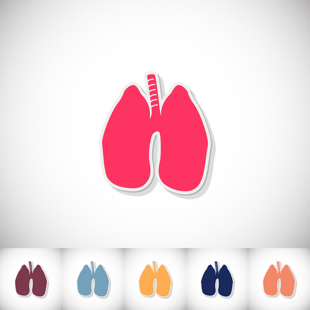 respiration: Human lung. Flat sticker with shadow on white background