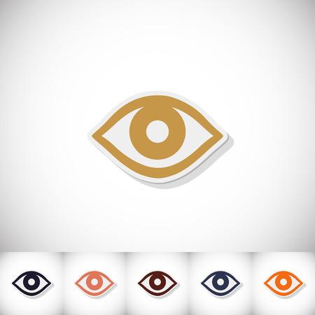 Eye. Flat sticker with shadow on white background