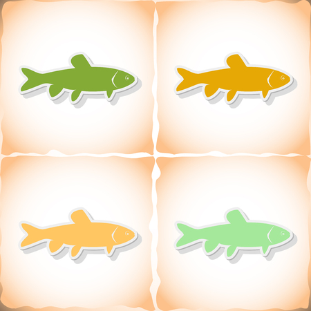 gills: Fish grass carp. Flat sticker with shadow on old paper