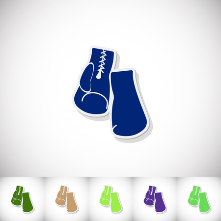 spotlit: Boxing gloves. Flat sticker with shadow on white background
