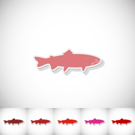 Fish loach. Flat sticker with shadow on white background