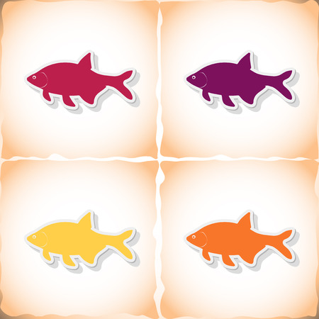 bream: Fish bream. Flat sticker with shadow on old paper