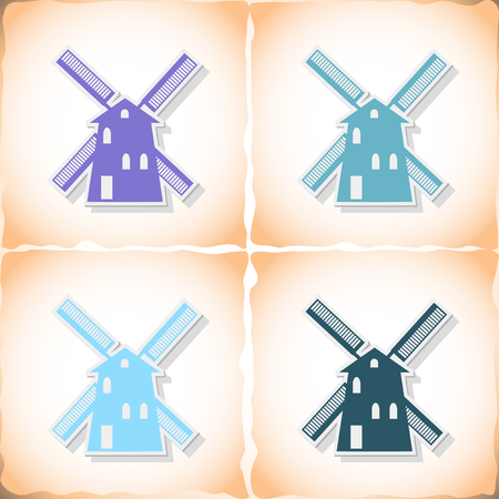 wind mills: Mill. Flat sticker with shadow on old paper Illustration