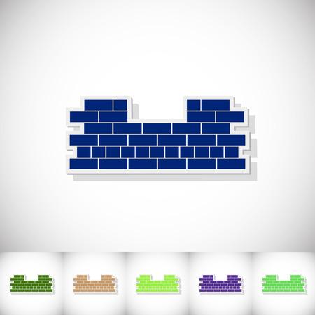 Brickwork. Flat sticker with shadow on white background