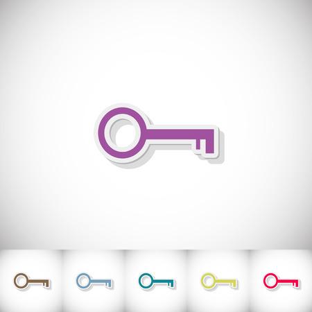 Key. Flat sticker with shadow on white background Illustration