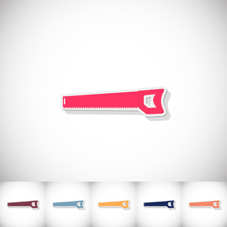 Handsaw. Flat sticker with shadow on white background