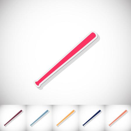 Baseball bat. Flat sticker with shadow on white background
