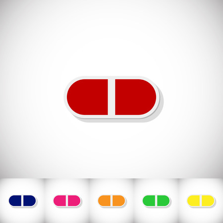 Pills. Flat sticker with shadow on white background. Illustration