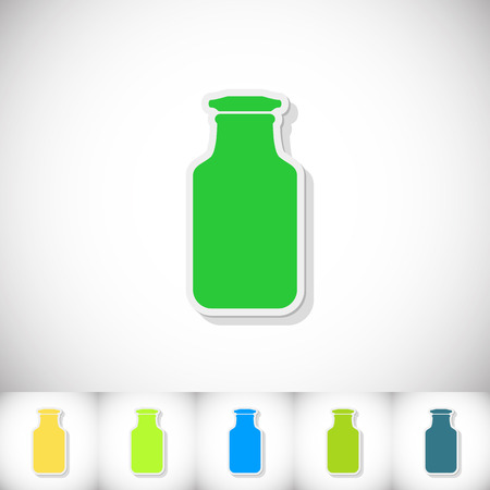 Medical flask. Flat sticker with shadow on white background. Illustration