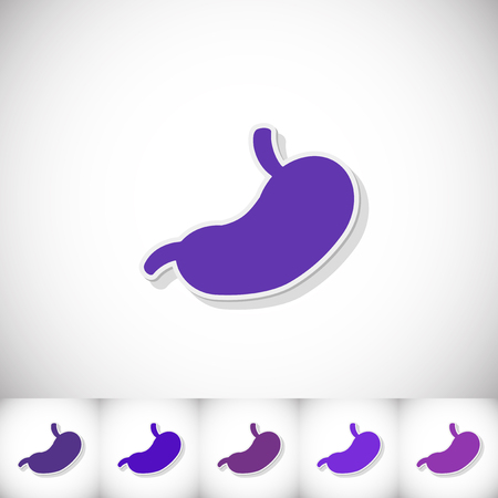 Human stomach. Flat sticker with shadow on white background Illustration