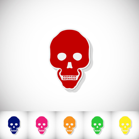 Human skull. Flat sticker with shadow on white background