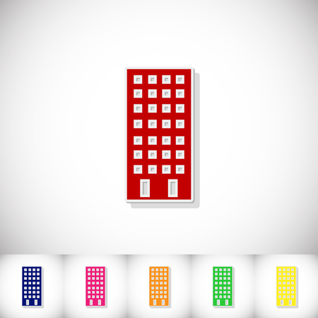 Building. Flat sticker with shadow on white background. Vector illustration