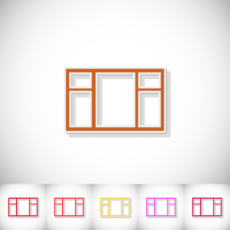 Window. Flat sticker with shadow on white background. Vector illustration Illustration