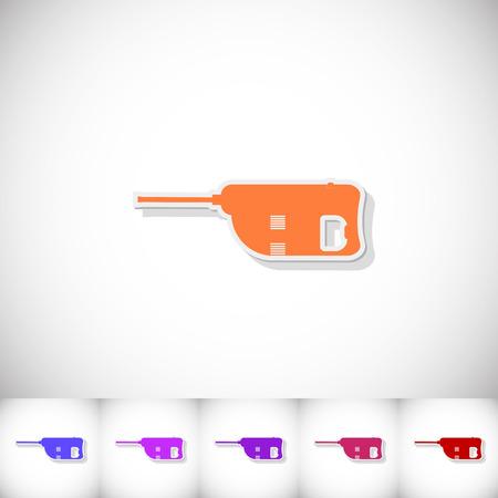Jackhammer. Flat sticker with shadow on white background. Vector illustration Illustration