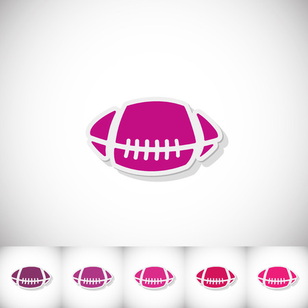 Rugby ball. Flat sticker with shadow on white background Illustration