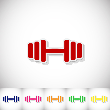 Athletic dumbbell. Flat sticker with shadow on white background