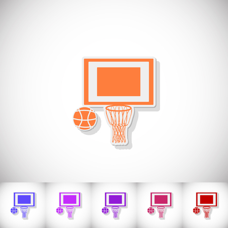 Basketball. Flat sticker with shadow on white background Illustration