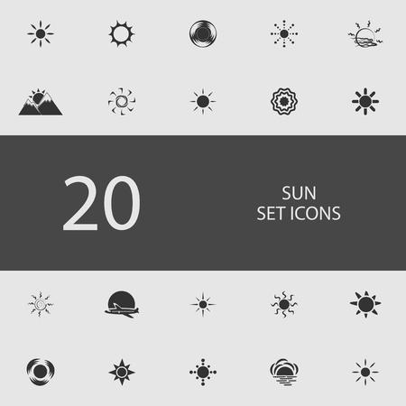 Sun set of flat icons vector illustration