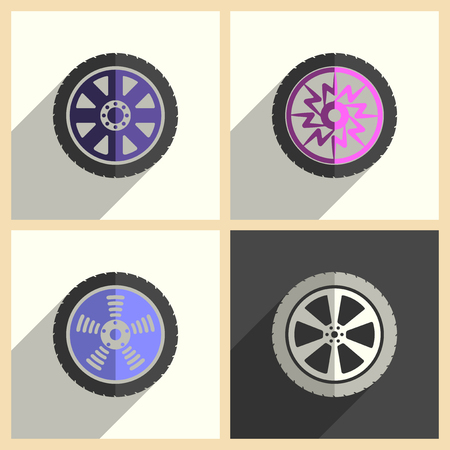 rim: Car wheel set of flat icons with shadow. Simple vector illustration