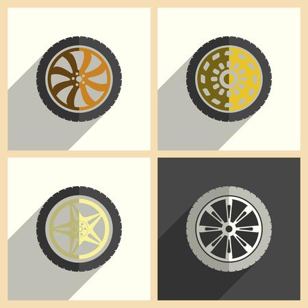 rim: Car wheel set of flat icons with shadow. Vector illustration Illustration