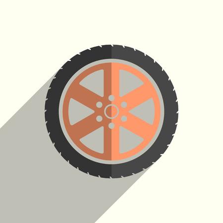 Iconos planos de rueda de coche con sombra. Ilustración vectorial