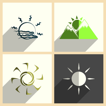 ray of light: Sun set of flat icons with shadow. Vector illustration