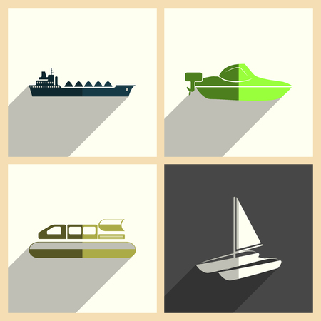 galley: Sea transport set of flat icons with shadow. Vector illustration
