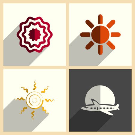 ray of light: Sun set of flat icons with shadow. Simple vector illustration
