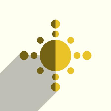 影付きの太陽のフラットアイコン。ベクターイラスト