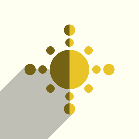 Sun flat icons with of shadow. Vector illustration