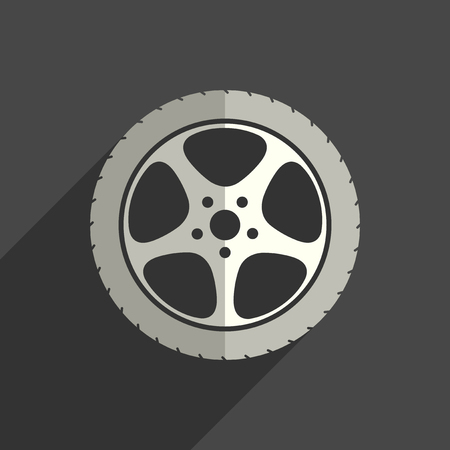 Car wheel flat icons with of shadow. Vector illustration